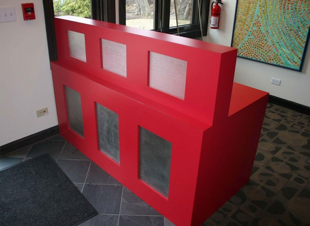 Red laminate reception desk