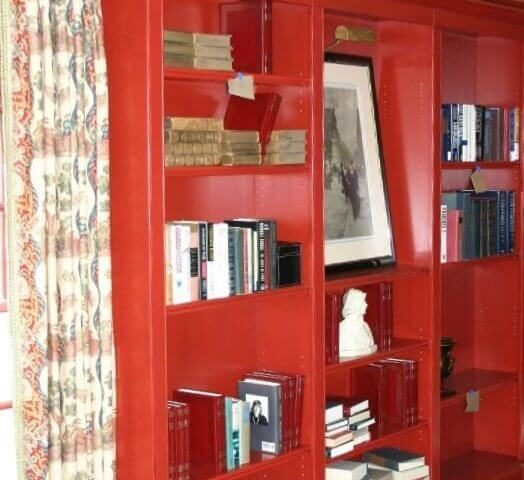 Custom red bookcases