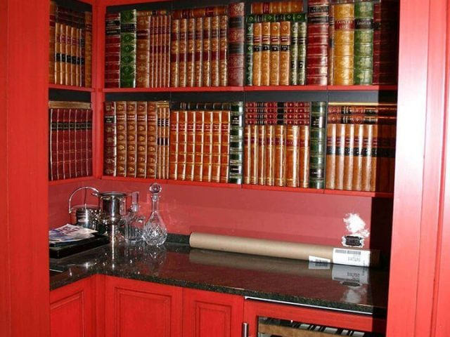 Red wet bar cabinets