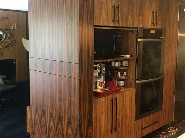Kitchen end panel made from rosewood
