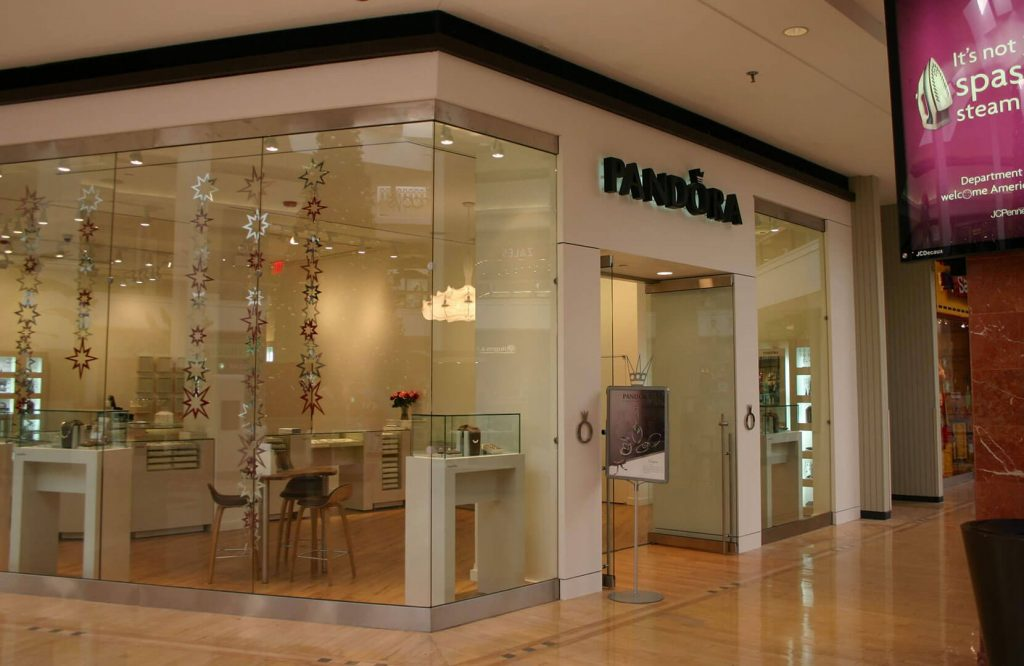 Pandora store front with solid surface surround
