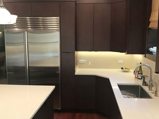 Kitchen cabinets made with stained maple