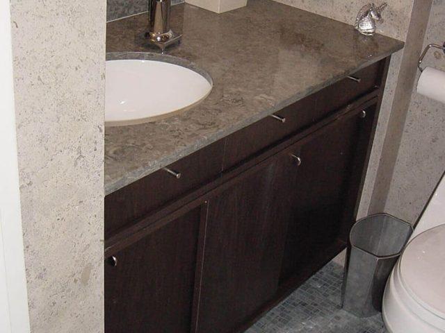 Bathroom vanity with sliding doors