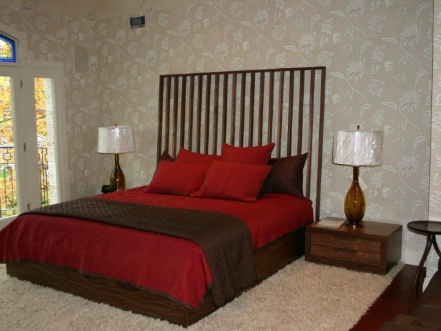 Bedroom set made from walnut wood