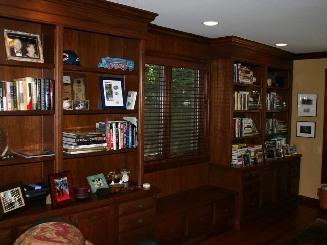 Window seat with walnut bookcases