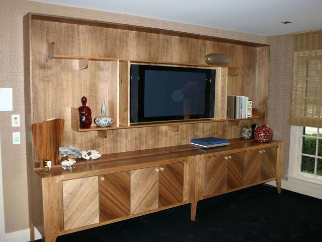 Free standing walnut and butternut cabinets