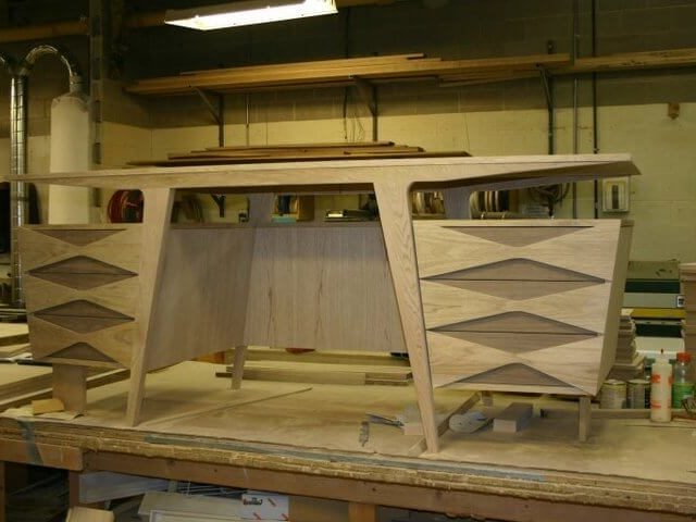 Walnut and butternut wooden desk