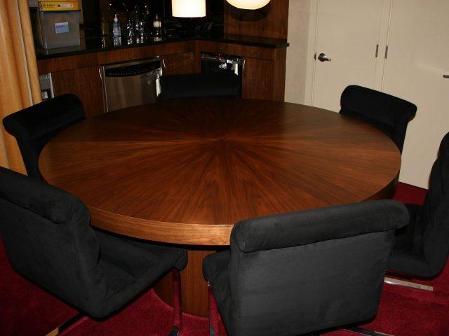 Walnut sunburst veneer table