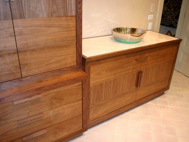 Walnut wood bathroom cabinetry