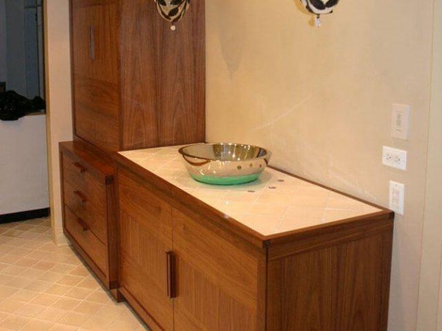 Walnut wood vanity cabinets