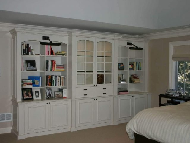 White bedroom bookcases