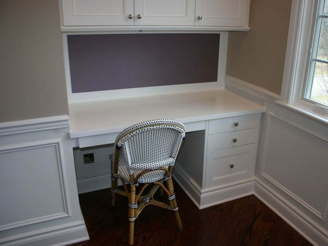 Custom white bedroom desk