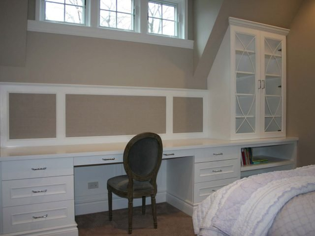 White bedroom desk and storage cabinet