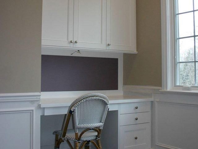 White bedroom desk and cabinets