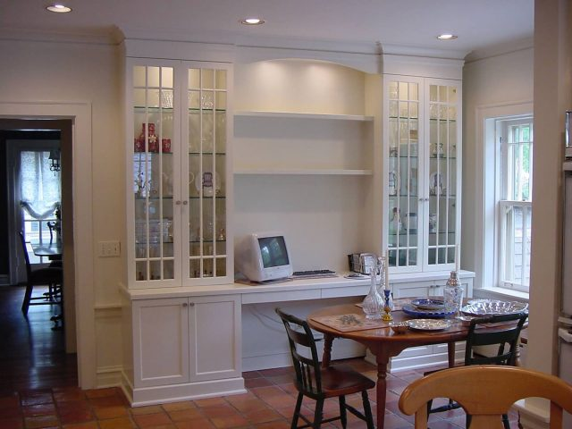 White kitchen desk and display shelves