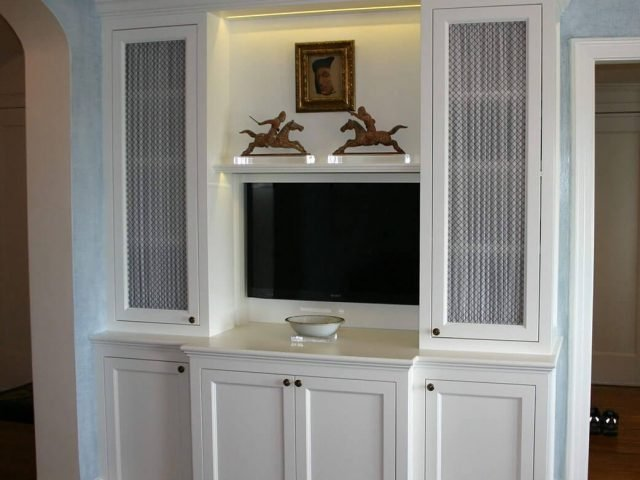 White television surround with custom cabinets