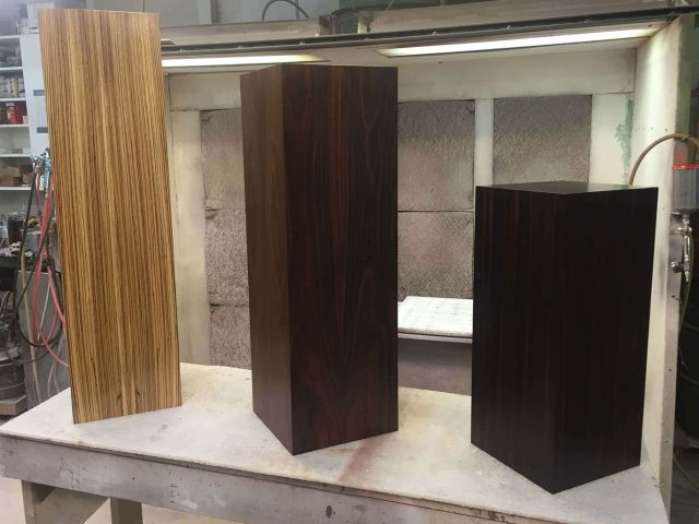 Custom pedestals made from zebrawood, rosewood, and ebony