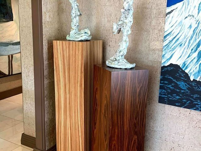 Zebrawood and rosewood pedestals